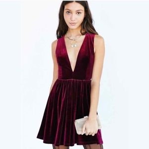 Urban outfitters Lucca red velvet mini dress M